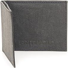 Kleiner dünner Geldbeutel schwarz FRITZVOLD aus Papier-Kunstleder mit Kleingeldfach, kleine Geldbörse, Slim Wallet, flache praktische Minibörse, Mini Portemonnaie Herren und Damen MINIMAL WALLET