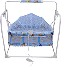 Tender Care Baby Cradle Crib Mobile Swing Jhula with Mosquito Net for Baby (Blue).