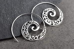 925 Sterling Silber Spiral Ohrringe ORNAMENT | Boheme-Stil | Geschenkverpackung Schmuckschachtel | tolle Geschenkidee