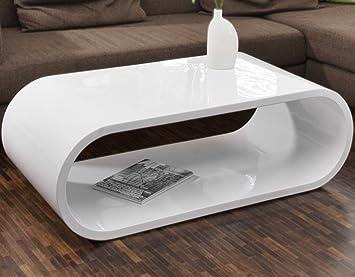 Couch Tisch Weiss Hochglanz 120x60cm Aus MDF Oval