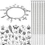 100 قطعة من المجوهرات الساحرة ، 12 قطعة سلسلة الفولاذ المقاوم للصدأ و 200 قطعة مفتوحة القفز لصنع قلادة سوار المجوهرات والحرف