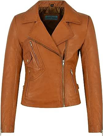 Smart Range Leather Co Ltd. Giacca in Pelle Donna Tan Biker Style Motorcycle Soft Italian Napa 2588