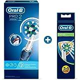 Oral-B Pro 2 2000N Elektrische Zahnbürste, mit Lithium-Ionen-Akku für mehr als 2 Wochen Putzzeit und visueller Andruckkontrolle, weiß/blau + CrossAction Aufsteckbürsten mit Bakterienschutz, 3+1 Stück