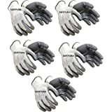 SAFEYURA Nylon Anti Cut Safety Hand Glove -5 Pairs Color- White Grey Size-Large