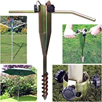 Denny International ® Heavy Duty Rust Resistant Zinc Plated Steel Screw in Ground Spike Rotary Washing Line Parasol Airer Stand Base