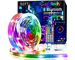 15M Cozylady Smart LED Strip Lights 50FT - App Controlled LED Light Strips - RGB Music Sync LED Lights Strip for Bedroom Deco
