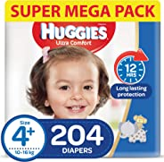 HUGGIES Ultra Comfort Diapers, Size 4+, Jumbo Pack, 10-16 kg, 204 Diapers