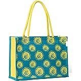 H&B Jute Shopping Bag - Designer Tote Bag (Spiral, Blue)