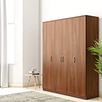 Amazon Brand - Solimo Medusa Engineered Wood wardrobe walnut finish ,4 Doors
