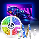 Tiras LED TV 2M, Tasmor Luces LED RGB 5050 Retroiluminación con Sincronización Música, Control Remoto, 16 Colores y 4 Modos,