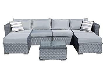 Yakoe Papaver 6 Seater Garden Furniture Patio Conservatory Rattan Corner  Sofa Set With Coffee Table And Stools   Brown: Amazon.co.uk: Garden U0026  Outdoors