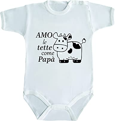 Extrêmement Body neonato frasi divertenti AMO LE TETTE COME PAPA': Amazon.it  GO61