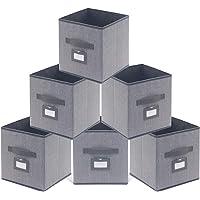 homyfort Lot de 6 Boîtes/Tiroirs en Tissu Cube de Rangement Pliable Coffre pour Linge, Jouets, Vêtement 30 x 30 x 30 cm…