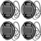 ChromLives 58mm Lens Cap with Lens Cap Leash Hole Bundle for DSLR Cameras Nikon Canon (58mm)- 4 Pack