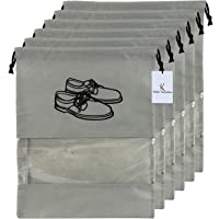Kuber Industries 6 Piece Non Woven Travel Shoe Cover, String Bag Organizer, Grey -CTMTC039482