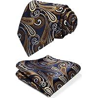 HISDERN Cravatta e Pochette Set Extra Long Floral Paisley Cravatta Fazzoletto Uomo