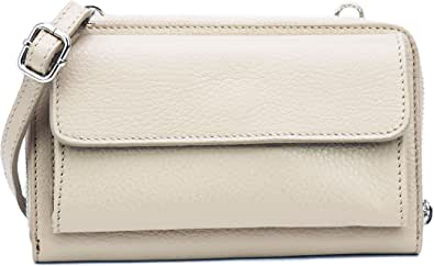 SH Leder Damen Handytasche Umhängetasche Geldbörse Multifunktion Beutel aus Echtleder Verstellbar Schultergurt Handy bis 6,7 Zoll 11,50x19cm Vera G368