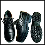 Industrial Pure Leather Safety Shoes with Steel Toe for Men (Black)