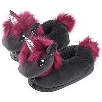 corimori 1847 (Various Animal Designs) Animal Shaped Plush Booties, Carpet Slippers, Ruby the Punk-Unicorn, Black-Pink…