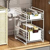 LXVY Étagère sous Evier Rack etagère de Rangement Cuisine Panier de Rangement Coulissant à 2 Niveaux pour Placard de…