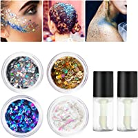 PIXNOR Face Glitter Chunky Glitter with Glitter Fix Gel Safe Non Toxic Glue for Body, Cheeks and Hair