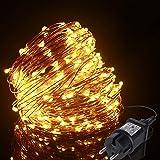 Guirlande Lumineuse 20m 200LED, ALED LIGHT Guirlande LED Blanc Chaud Fil de Cuivre Étanche IP65 avec Adapteur Alimentation, C