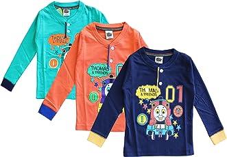 ELK Little Master Kids Boy's Green Orange Navy Printed Full sleeve 100% Cotton Tshirt 3 Piece Combo