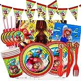 Yisscen Juego de fiesta de cumpleaños 82 piezas Juego de fiesta Super Platos Tazas Servilletas Cubiertos Banner Mantel Vajill