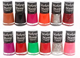 Makeup Mania Super Glam Nail Paints in 12 Hot Shades (Red, Green, Orange, Pink, Black, Silver etc, Pack of 12)