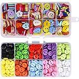 Hossom Bottoni Colorati, 590 Pezzi Bottoni in Resina, Bottoni Caramella Colori Cucito con Scatola di Plastica, per Artigianat