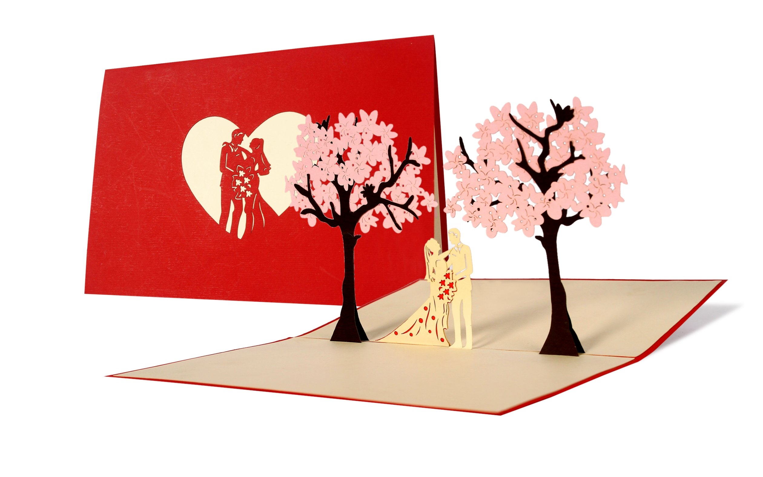 Hochzeitskarten Mit Umschlag Brautpaar Unter Flieder 3d Pop Up