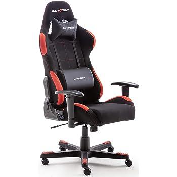 Robas Lund OH/FD01/NR DX Racer 1 Gaming-/ Schreibtisch-/ Bürostuhl, schwarz/rot, 78 x 124-134 x 52 cm