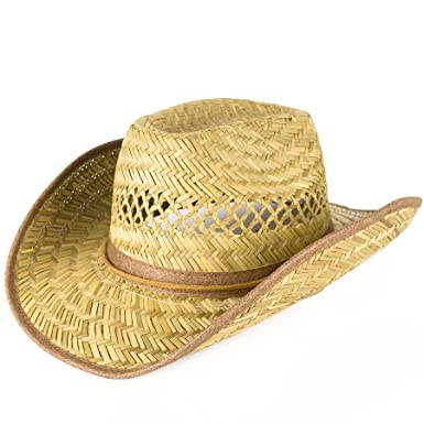 817369f51 Reshapeable Straw Cowboy Hat with Faux Leather Band: Amazon.co.uk ...
