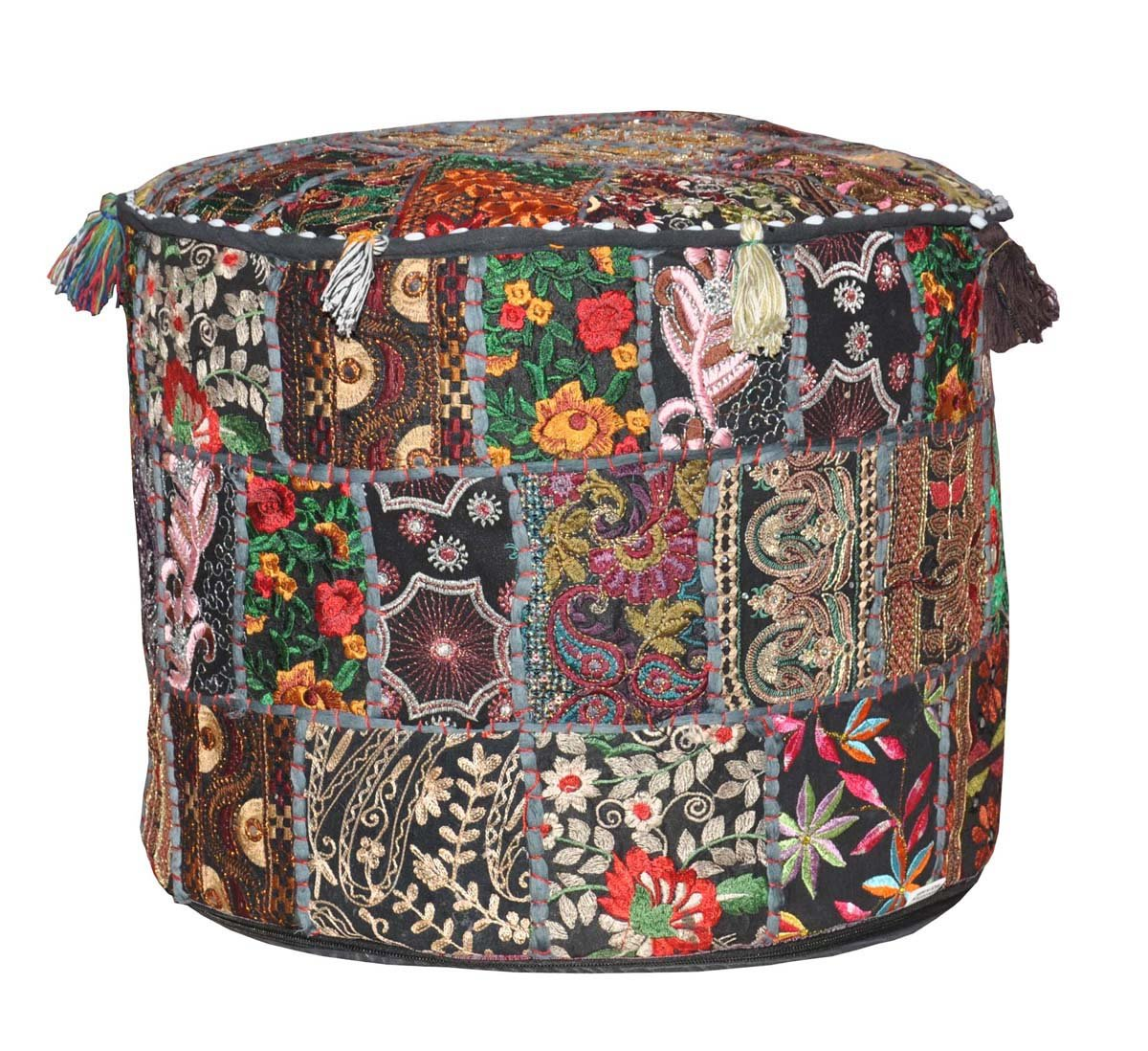 Traditional Decorative Ottoman Comfortable Floor Cushion Cover Foot Stool Cover Embellished With Embroidery & Patchwork…