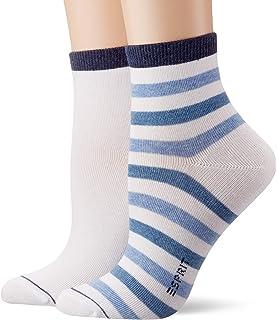 Versch Baumwollmischung Strumpf aus hautsymphatischer Baumwolle und schimmernden Effektgarn ESPRIT Damen Socken Sparkling Diamond 2er Pack Gr/ö/ße 35-42 2 Paar Farben