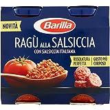 Barilla Sugo alla Salsiccia, Salsa Pronta al Pomodoro Italiano, Salsiccia e Carni Selezionate, Senza Glutine, 2 Barattoli da