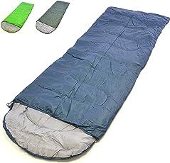 Nexos Schlafsack 200x70 cm Kapuze 12-22°C 170T Polyester Füllung 200 g/m² 1 kg Zelten Wandern Decke Schlafsackhülle