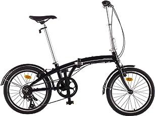 Ultrasport Alu Unisex Falt-Fahrrad 20 Zoll, Shimano 7 Gang Revoshift  Freilauf Kettenschaltung, werkzeugfrei zusammenfaltbares Fahrrad, schwarz