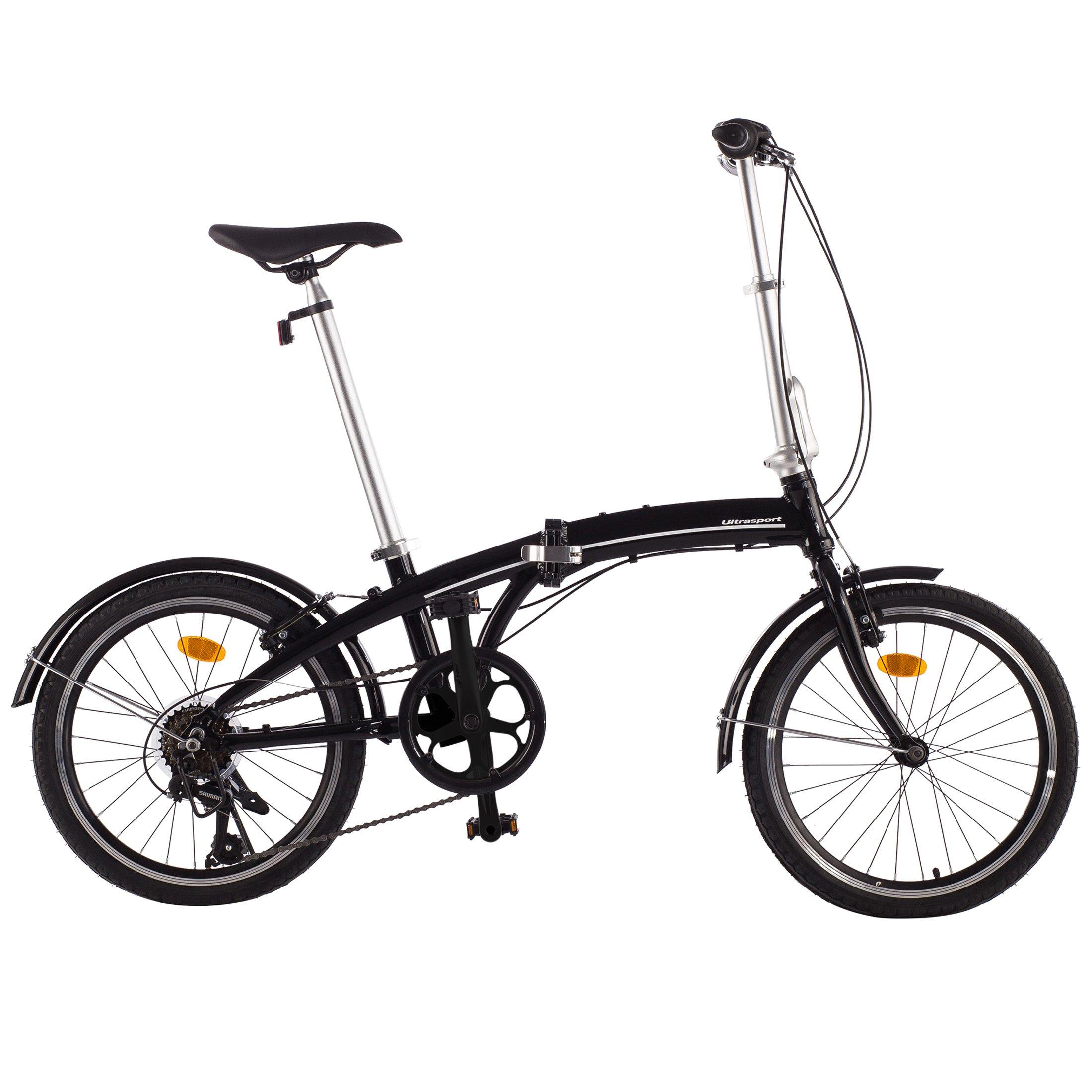 Bici Pieghevole In Alluminio.Ultrasport Bici Pieghevole Da 20 Pollici Bicicletta Pieghevole A 7 Rapporti Cambio Manuale Shimano Revoshift 7 Speed Con Manopola Girevole Manubrio