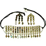Silver Oxidized Metal Mirror Fitted and Specially Designed Choker Necklace and Earring Set for Women