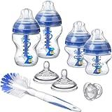 Tommee Tippee Advanced Anti-Colic Newborn Baby Bottle Starter Set, Breast-Like Teat and Heat Sensing Technology, Blue