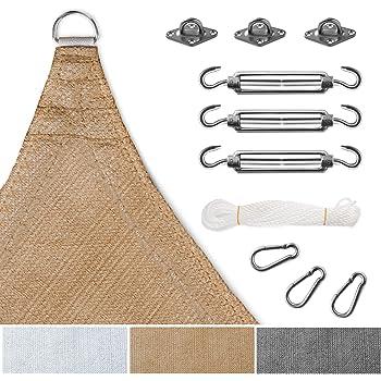 sonnensegel komplettset inkl set zur montage luftdurchl ssig und uv best ndig quadrat. Black Bedroom Furniture Sets. Home Design Ideas