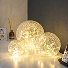 3er Set LED Glaskugeln mit Lichterkette warmweiß Innen