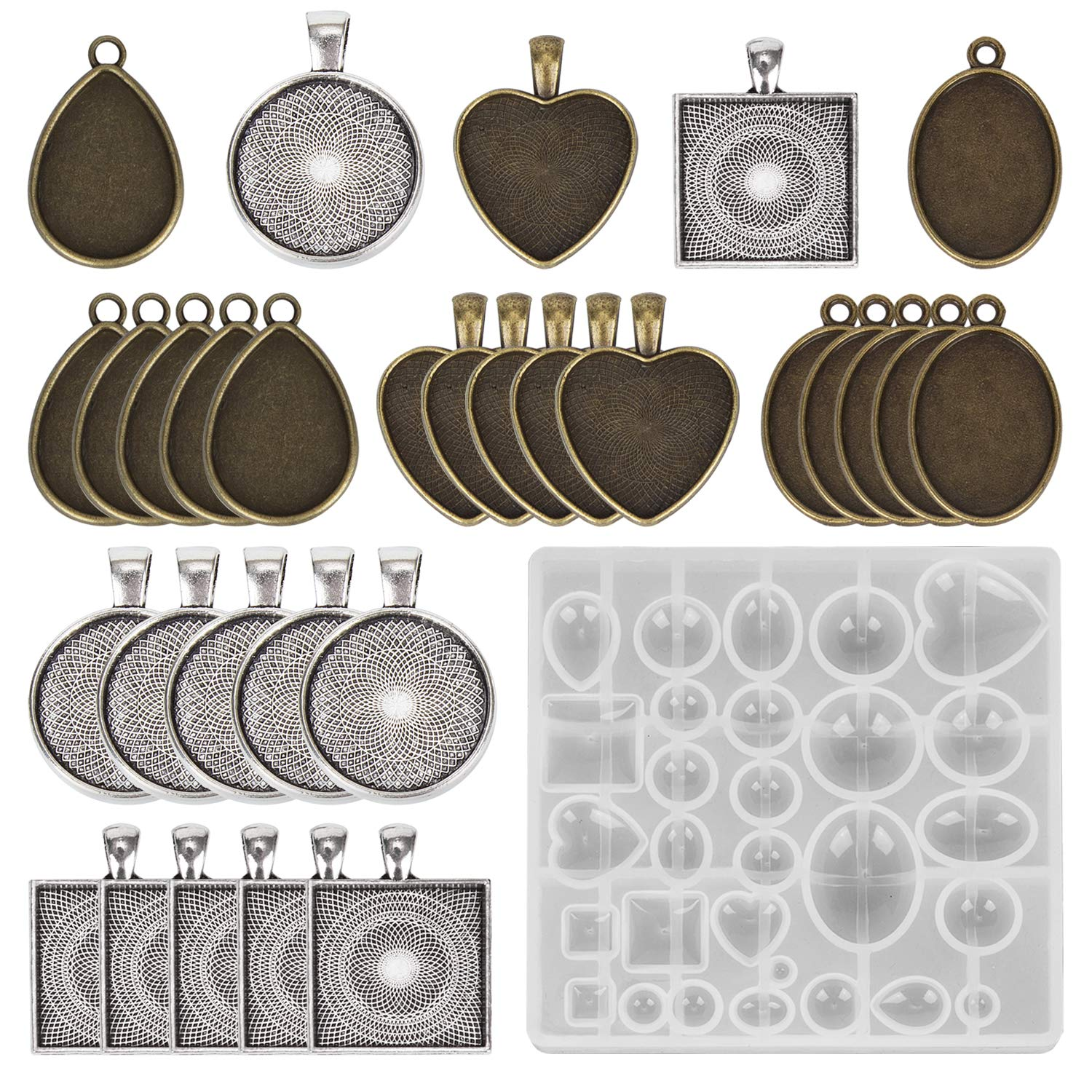229Pcs Resin Casting Molds Kit Silicone DIY Jewelry Pendant Mould Making   !