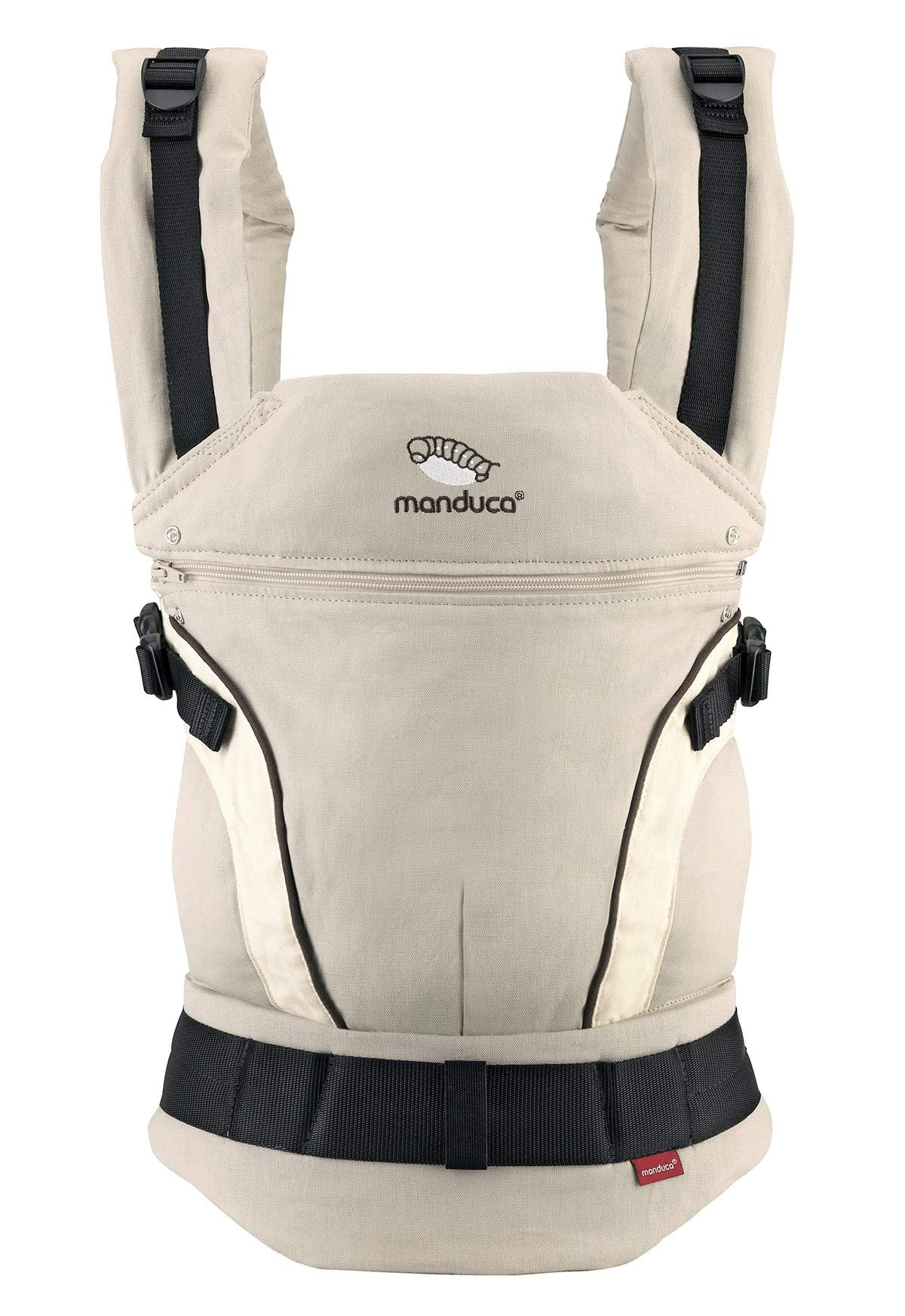 manduca First Baby Carrier > HempCotton Sand < Ergonomic Baby Carrier, Soft & Sturdy Canvas (Organic Cotton & Hemp), Front Carry, Hip Seat and Back Carry, from Newborn to Toddlers up to 20kg, Beige Manduca New features: Improved three-point-buckle (secure & easy to open); extra soft canvas made of 45% hemp and 55% organic cotton (outside), 100% organic cotton lining (inside) Already integrated in every baby carrier: infant pouch (newborn insert), stowable headrest & sun protection for your baby, patented back extension (grows with your child); Optional accessories for newborns: Size-It (seat reducer) and Zip-In Ellipse Ergonomic design for men & women: Soft padded shoulder straps (multiple adjustable) & anatomically shaped stable hipbelt (fits hips from 64cm to 140cm) ensure balanced weight distribution. No waist-belt extension needed 1