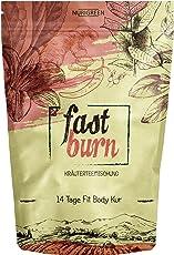 Fast Burn - schnell und wirksam - 14 Tage Body Detox Tee Kur - 100% natürliche Kräuterteemischung - Grüner Tee, Rooibostee, Ingwerwurzel, Mateblätter - Hergestellt in Deutschland - für Frauen und Männer - auch ohne Sport - vegan - Nurigreen