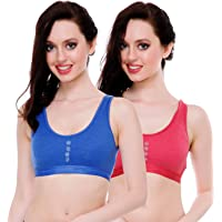 FIMS - Fashion is my style Women's Cotton Blend Sports Bra (Pack of 2)