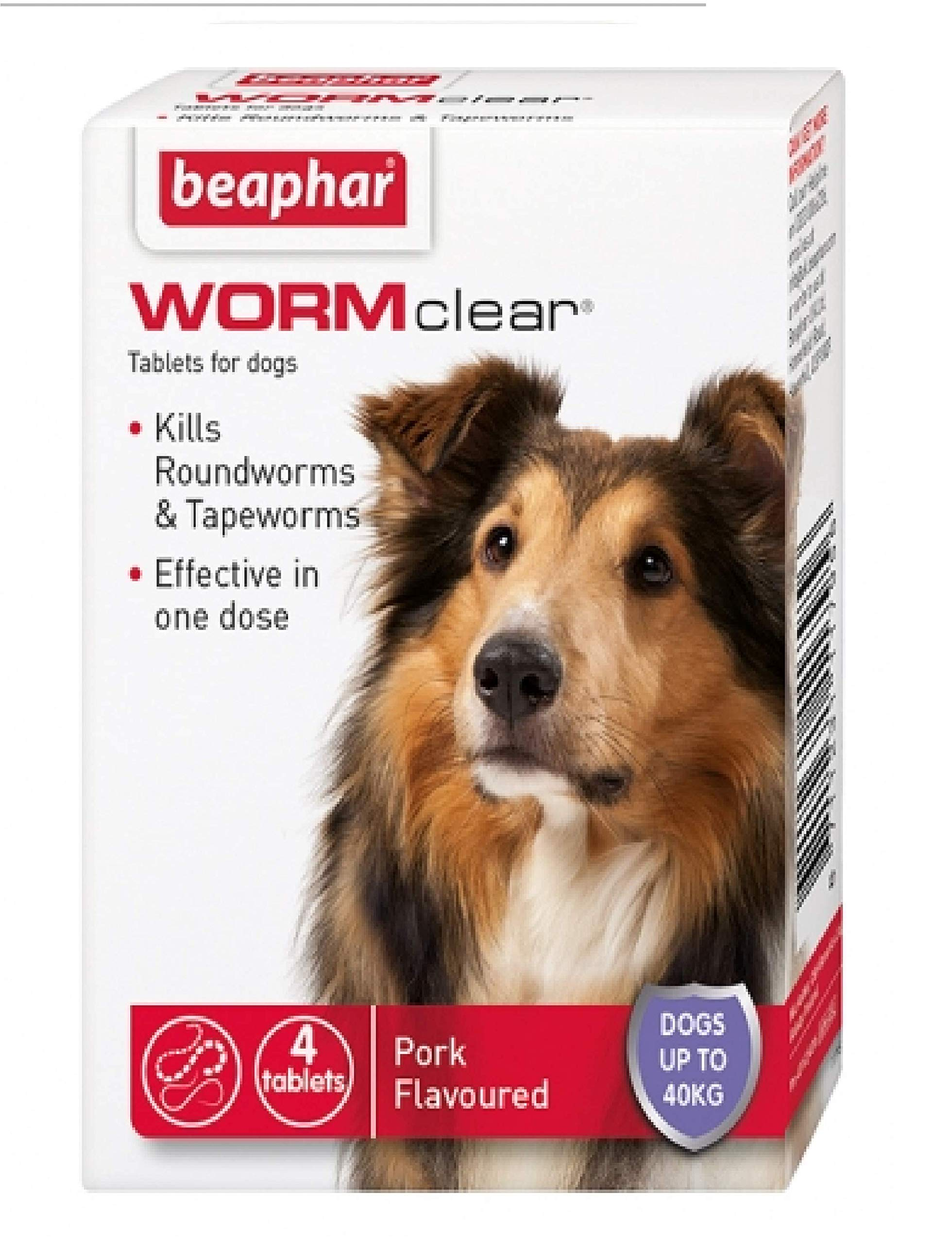 Beaphar – WORMclear – LARGE DOG >40KG – 4 TAB – ROUND & TAPE WORM x2