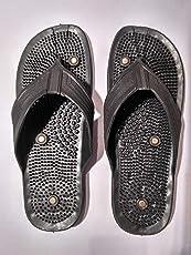 LUMONY Acupressure Massage Slippers Leg Foot Massager (Color Black,Size-10)