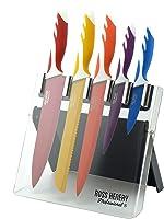 Set di 5 coltelli da cucina in acciaio inox Ross Henery Professional, in moderno stand acrilico di tendenza